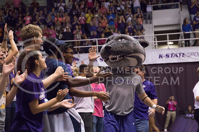 Willie the Wildcat high-fives fans during the K-State volleyball game against Texas in Ahearn Field House on Oct. 1, 2016. (Anna Spexarth | The Collegian)