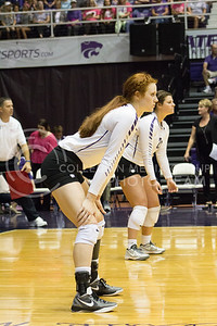 Junior opposite hitter Bryna Vogel waits for Texas to serve the ball in the game on Oct. 1, 2016, in Ahearn Field House. (Maddie Domnick | The Collegian)