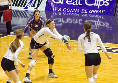 Sophomore outside hitter Kylee Zumach passes the ball in the game against Texas on Oct. 1, 2016, in Ahearn Field House. (Maddie Domnick | The Collegian)