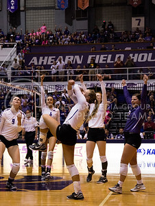 Members of the K-State volleyball team celebrate a point in the game against Texas in Ahearn Field House on Oct. 1, 2016. (Anna Spexarth | The Collegian)