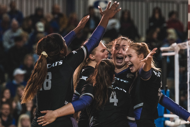 The Wildcats celebrate a 3-2 comeback against KU on November 14, 2018 in Lawrence, KS. (Alex Todd | Collegian Media Group)