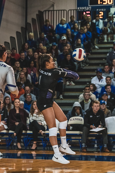 Defensive specialist Reilly Killeen bumps the ball after receiving it from KU. K-State beat the Jayhawks 3-2 on November 14, 2018 in Lawrence, KS. (Alex Todd | Collegian Media Group)