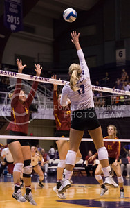 Senior outside hitter Brooke Sassin hits the ball during the K-State volleyball match against Iowa State in Ahearn Field House on Sept. 21, 2016. (Anna Spexarth | The Collegian)