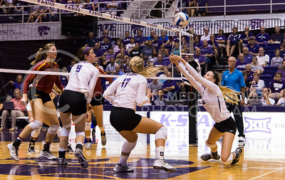 Senior setter Katie Brand hits the ball during the K-State versus Iowa State volleyball game on Sept. 21, 2016. (Anna Spexarth | The Collegian)