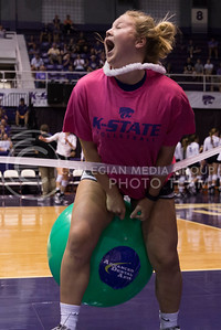 An attendee of the K-State versus Iowa State volleyball game participates in the timeout entertainment in Ahearn Field House on Sept. 21, 2016. (Anna Spexarth | The Collegian)