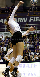 Sophomore middle blocker Macy Flowers takes a big swing outside in the game against Iowa State in Ahearn Field House on Sept. 21, 2016.