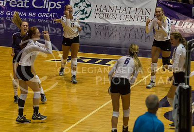 The K-State volleyball team celebrates a point during the K-State volleyball match against Iowa State in Ahearn Field House on Sept. 21, 2016. (Nathan Jones | The Collegian)