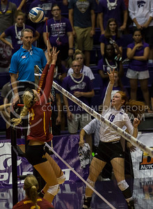 Junior opposite hitter Bryna Vogel hits the ball during the K-State volleyball match against Iowa State in Ahearn Field House on Sept. 21, 2016. (Nathan Jones | The Collegian)