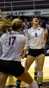 Senior middle blocker Katie Reininger screams with excitement after a kill in the match against Iowa State in Ahearn Field House on Sept. 21, 2016. (Sabrina Cline | The Collegian)