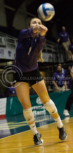 Senior libero Kersten Kober gets to the ball deep in the court to give her setter a good pass in the match against Iowa State in Ahearn Field House on Sept. 21, 2016. (Sabrina Cline | The Collegian)
