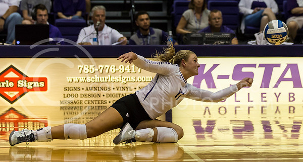 Senior outside hitter Brooke Sassin hits the ball during the K-State volleyball match against Iowa State in Ahearn Field House on Sept. 21, 2016. (Nathan Jones | The Collegian)