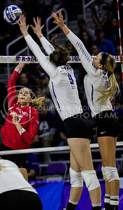 Seniors, Katie Reininger and Katie Brand, go up to block the ball during the game against Ohio State at Bramlage Collesium on Dec. 3, 2016. (Sabrina Cline | The Collegian)