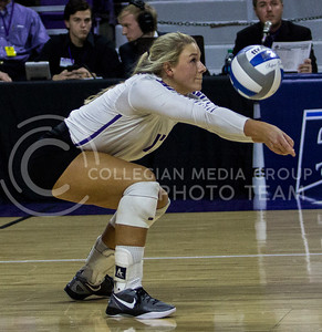 Senior outside hitter, Brooke Sassin, passes the serve during the K-State game against Ohio State in Bramlage Coliseum on Dec. 3, 2016. (Sabrina Cline | The Collegian)