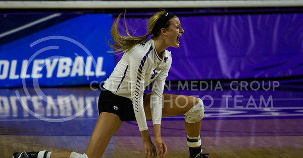 Senior setter, Katie Brand, screams with joy after the point won during the K-State game against Ohio State in Bramlage Coliseum on Dec. 3, 2016. (Sabrina Cline | The Collegian)