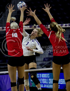 Sophomore outside hitter, Kylee Zumach, goes for the kill during the K-State game against Ohio State in Bramlage Coliseum on Dec. 3, 2016. (Sabrina Cline | The Collegian)