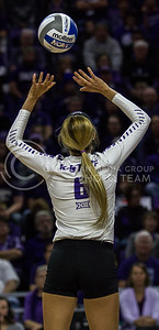 Senior setter, Katie Brand, sets the ball during the K-State game against Ohio State in Bramlage Coliseum on Dec. 3, 2016. (Sabrina Cline | The Collegian)