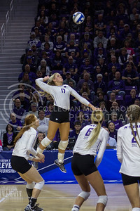 Senior outside hitter Brooke Sassin hits the ball during the K-State game against Ohio State in Bramlage Coliseum on Dec. 3, 2016. (Maddie Domnick | The Collegian)