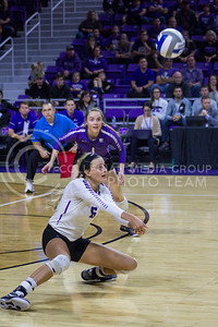 Senior setter Katie Brand passes the ball during the K-State game against Ohio State in Bramlage Coliseum on Dec. 3, 2016. (Maddie Domnick | The Collegian)