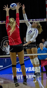 Senior outside hitter, Brooke Sassin, goes up for the kill during the K-State game against Ohio State in Bramlage Coliseum on Dec. 3, 2016. (Sabrina Cline | The Collegian)