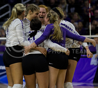 The team celebrates after a point won in the game against Ohio State in Bramlage Collesium on Dec. 3, 2016. (Sabrina Cline | The Collegian)