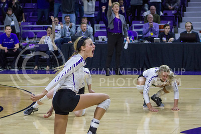 Senior setter Katie Brand cheers during the K-State game against Ohio State in Bramlage Coliseum on Dec. 3, 2016. (Maddie Domnick | The Collegian)