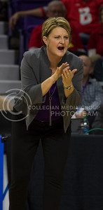 Head coach Suzie Fritz talks to the team during the volleyball game against Ohio State in Bramlage Coliseum on Dec. 3, 2016. (Nathan Jones | The Collegian)