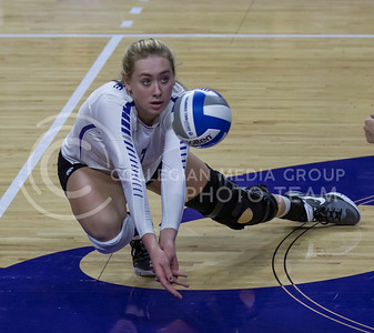 Sophomore outside hitter Kylee Zumach prepares to hit the ball during the volleyball game against Ohio State in Bramlage Coliseum on Dec. 3, 2016. (Nathan Jones | The Collegian)
