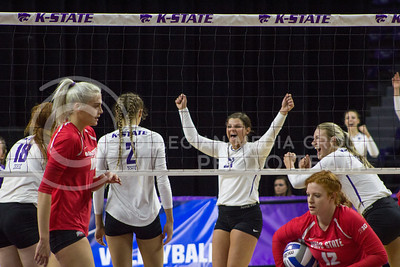 The Wildcats cheer after winning a point during the game against Ohio State in Bramlage Coliseum on Dec. 3, 2016. (Maddie Domnick | The Collegian)