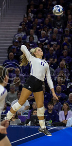 Senior outside hitter Brooke Sassin prepares to hit the ball during the volleyball game against Ohio State in Bramlage Coliseum on Dec. 3, 2016. (Nathan Jones | The Collegian)