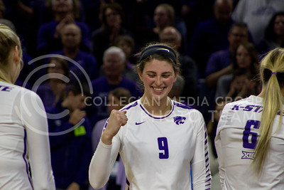 Senior middle blocker Katie Reininger smiles during the K-State game against Ohio State in Bramlage Coliseum on Dec. 3, 2016. (Maddie Domnick | The Collegian)