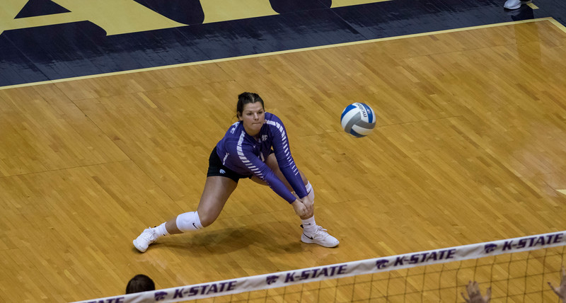 Senior libero Devan Fairfield passes the serve during the first match against Oregon State at Ahern Fieldhouse on Sept. 7 2018. ( Sabrina Cline | Collegian Media Group )