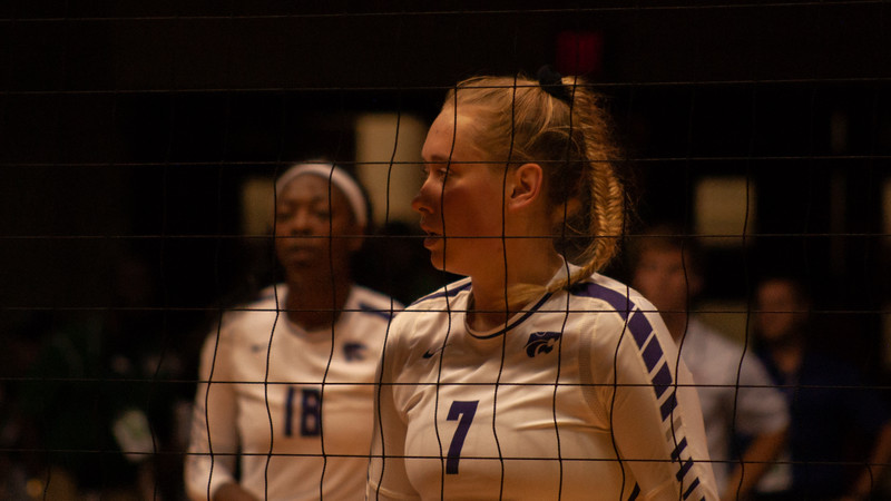 Ready at the net Senior Kylee Zumach prepares for the next set during the Oregon State game at Ahearn Fieldhouse (Rowan Jones | Collegian Media Group)