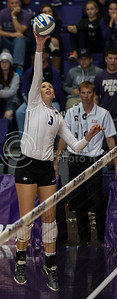 Sophomore outside hitter Alyssa Schultejans jumps to hit the ball during the K-State volleyball match against TCU in Ahearn Field House on Oct. 8, 2016. (Nathan Jones | The Collegian)