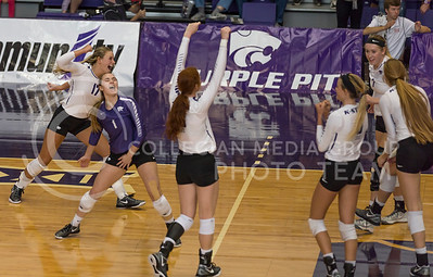 The K-State volleyball team celebrates a point  during the volleyball match against TCU in Ahearn Field House on Oct. 8, 2016. (Nathan Jones | The Collegian)
