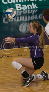 Senior libero Kersten Kober hits the ball during the K-State volleyball match against TCU in Ahearn Field House on Oct. 8, 2016. (Nathan Jones | The Collegian)