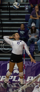 Senior outside hitter Brooke Sassin jumps to hit the ball during the K-State volleyball match against TCU in Ahearn Field House on Oct. 8, 2016. (Nathan Jones | The Collegian)