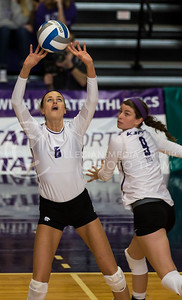 Senior setter Katie Brand sets the ball during the K-State volleyball match against TCU in Ahearn Field House on Oct. 8, 2016. (Nathan Jones | The Collegian)
