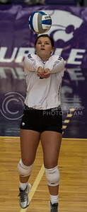 Sophomore defensive specialist Devan Fairfield prepares to hit the ball during the K-State volleyball match against TCU in Ahearn Field House on Oct. 8, 2016. (Nathan Jones | The Collegian)