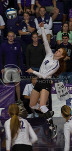 Junior opposite hitter Bryna Vogel spikes the ball during the K-State volleyball match against TCU in Ahearn Field House on Oct. 8, 2016. (Nathan Jones | The Collegian)