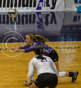 Senior libero Kersten Kober hits the ball during the K-State volleyball match against West Virginia in Ahearn Field House on Oct. 22, 2016. (Nathan Jones | The Collegian)