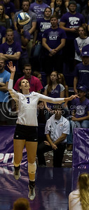 Sophomore outside hitter Alyssa Schultejans jumps to hit the ball during the K-State volleyball match against West Virginia in Ahearn Field House on Oct. 22, 2016. (Nathan Jones | The Collegian)