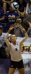 Senior setter Katie Brand sets the ball during the K-State volleyball match against West Virginia in Ahearn Field House on Oct. 22, 2016. (Nathan Jones | The Collegian)