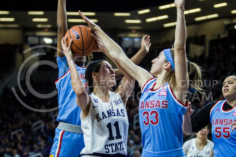 Sophomore forward, Peyton Williams, charges the basket against KU in Bramlage Coliseum on Feb. 24, 2018. The Wildcats defeated the Jayhawks 91-67. (Logan Wassall | Collegian Media Group)