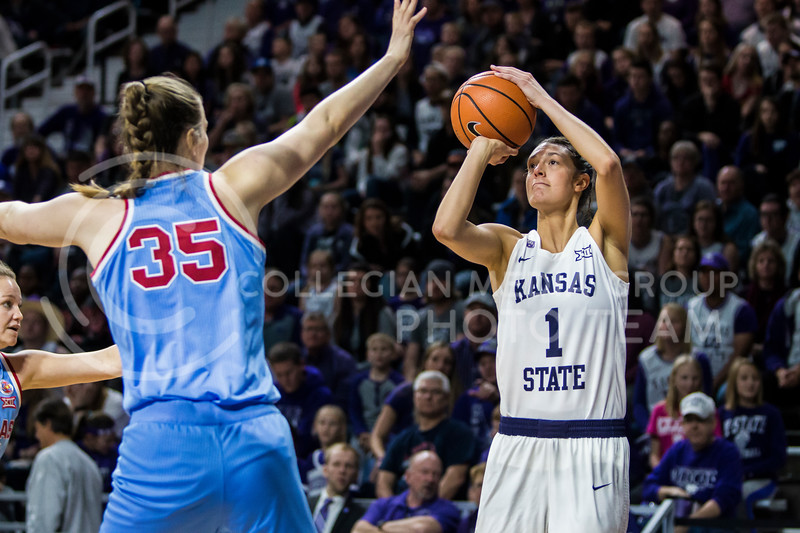 Senior forrward, Kaylee Page, takes a shot against KU in Bramlage Coliseum on Feb. 24, 2018. The Wildcats defeated the Jayhawks 91-67. (Logan Wassall | Collegian Media Group)
