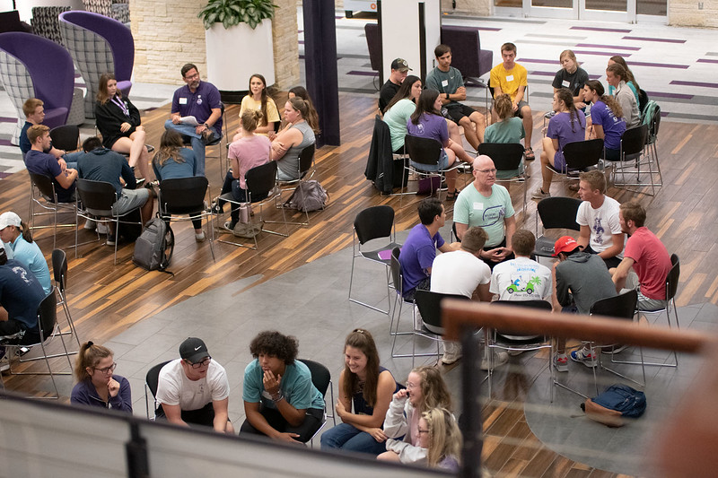 Wildcat Dialogues small group discussion facilitated by students, faculty, and staff from across the university. Sep 16, 2019. (Dylan Connell | Collegian Media Group)