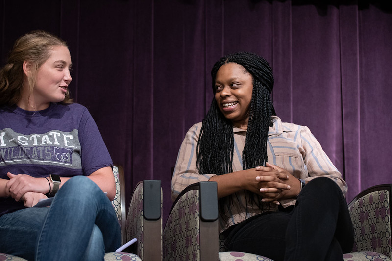 Panel members speaking at the Wildcat Dialogues about past and present experiences. Sept 16, 2019. (Dylan Connell | Collegian Media Group)