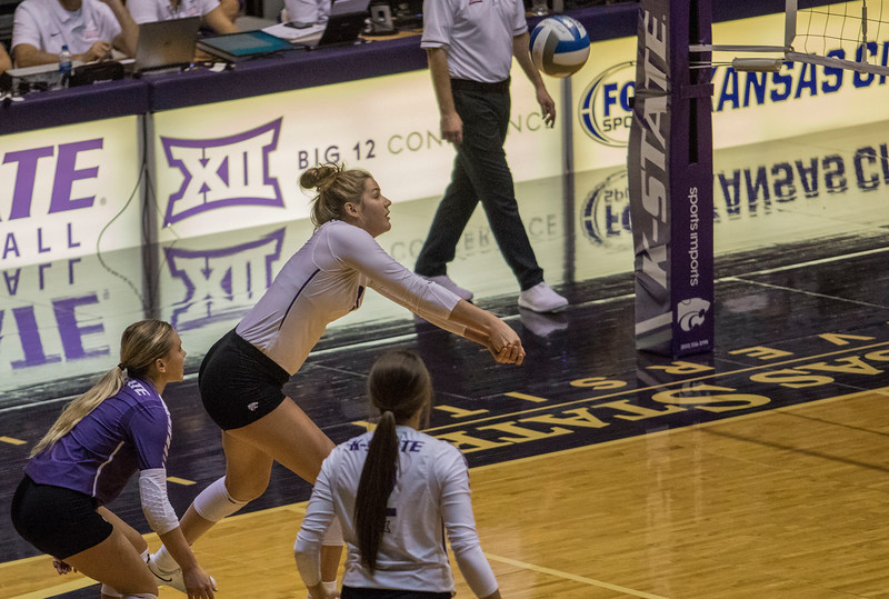 Freshman outside hitter Anna Dixon passes the serve during the game against the University of Kansas on Oct. 23, 2019 in Ahern Fieldhouse. (Sabrina Cline | Collegian Media Group)