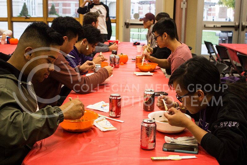 Students enjoy Pho, a vietnamese noodle soup, at the Wildcats Pho-Ever dinner on Oct. 29, 2017. The event was put on by Wildcats Forever and the Asian American Student Union. (Regan Tokos | Collegian Media Group)