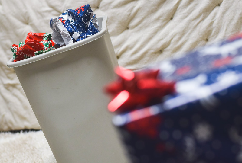 A student prepares for the winter holidays. Historically, holidays are one of the most celebrated times of the year, but they are also the most wasteful.