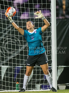 Junior goalie Miranda Larkin successfully saves a shot on goal from Oral Roberts. The K-State Woman's Soccer team played Oral Roberts on Sept. 23, 2016. (Austin Fuller | The Collegian)